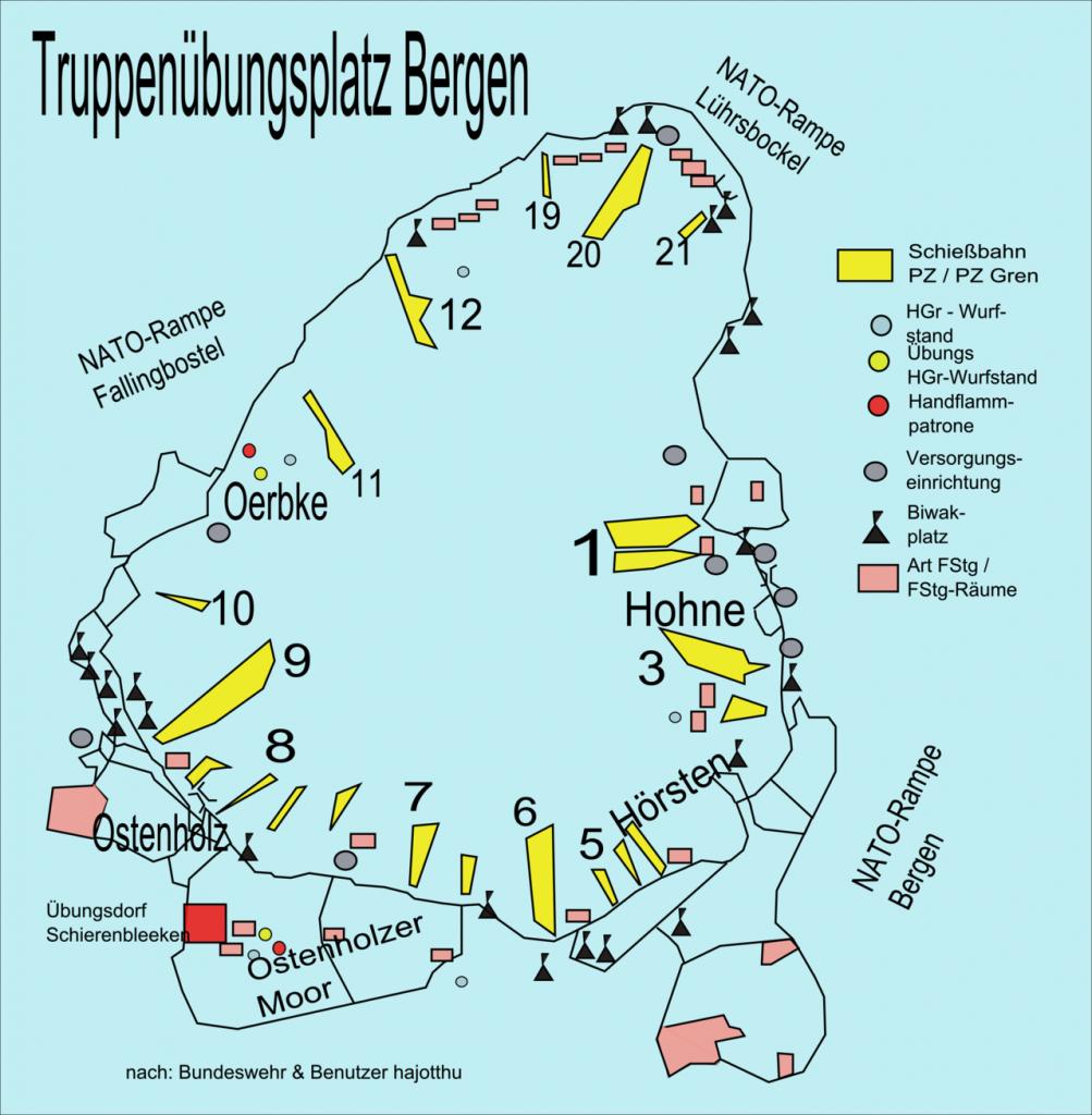 Plattegrond oefenterrein Bergen